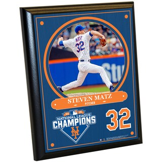 New York Mets 2015 National League Champions Steven Matz 8x10 Plaque w/ Game Used Dirt from Citi Field