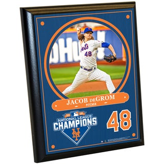 New York Mets 2015 National League Champions Jacob deGrom 8x10 Plaque w/ Game Used Dirt from Citi Field