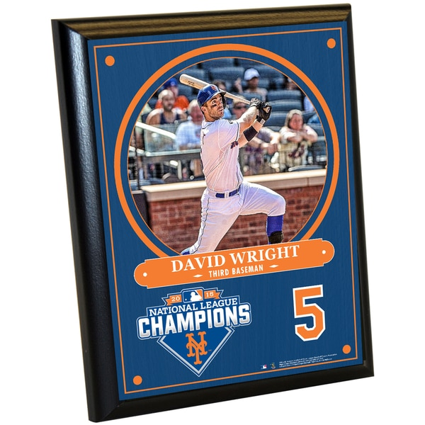 New York Mets 2015 National League Champions David Wright 8x10 Plaque w/ Game Used Dirt from Citi Field
