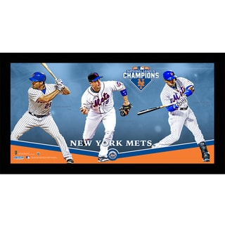 New York Mets 2015 National League Champions 10x20 Players Composition Framed Collage w/ Game Used Dirt from Citi Field