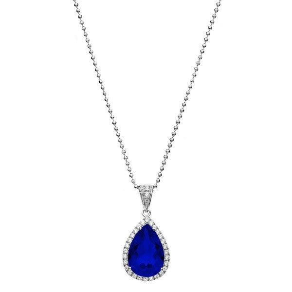 Isla Simone Fine Jewelry Platinum Plated Sterling Silver Tear Drop Cut CZ Necklace 16595862