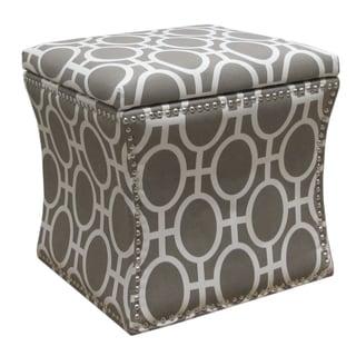 Skyline Furniture Nail Button Storage Ottoman in Trellis Brindle
