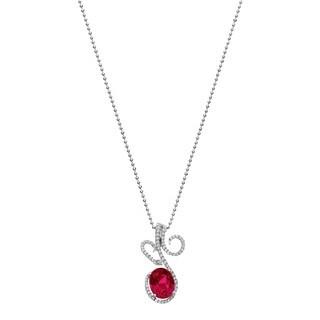 Isla Simone - Platinum Plate Sterling Silver Heart Cut CZ Necklace