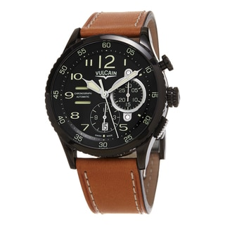 Vulcain Men's 590863A07.BFC11 'Aviator Instrument' Black Dial Brown Leather Strap Chronograph Swiss Automatic Watch