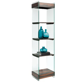 Dark taupe and tempered glass 60 inch bookcase deals for Furniture of america nara contemporary 6 shelf tiered open bookcase