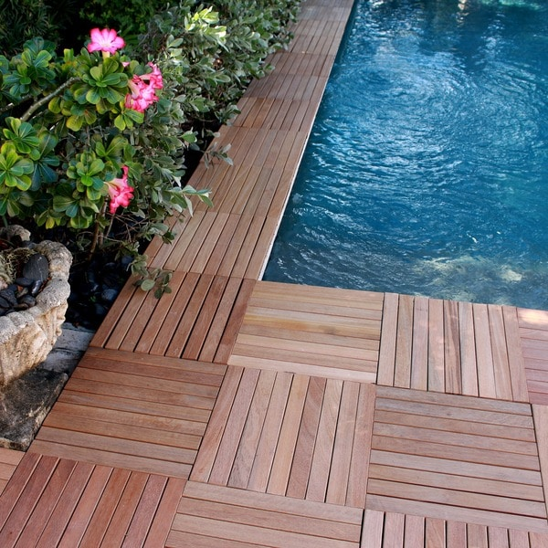 CLICK 9-slat Interlocking Teak Wood DeckTiles Real Wood Series