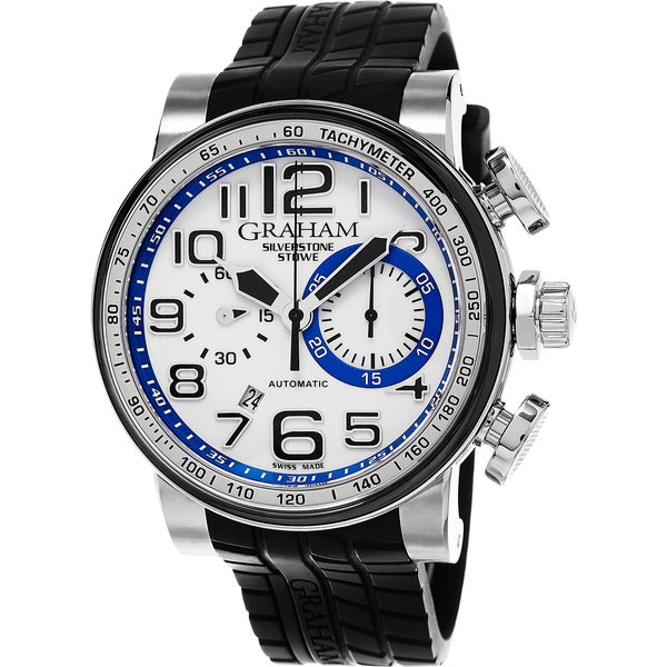 Graham Men's 2BLDC.W07C 'Silverstone Stowe' White Dial Black Rubber Strap Chronograph Swiss Automatic Watch