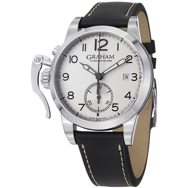 Graham Men's 2CXAS.S01A 'Chronofighter 1695' Silver Dial Brown Leather Strap Swiss Automatic Watch