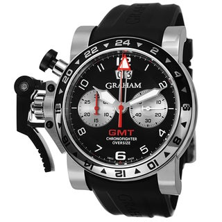 Graham Men's 2OVGS.B39A.K10S 'Chronofighter' Black Dial Black Rubber Strap Chronograph GMT Swiss Automatic Watch