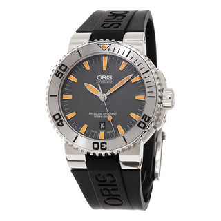 Oris Men's 733 7653 4158 RS 'Aquis' Grey Dial Black Rubber Strap Date Swiss Automatic Watch