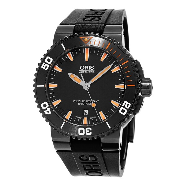 Oris Men's 733 7653 4259 RS1 'Aquis' Black Dial Black Rubber Strap Date Swiss Automatic Watch
