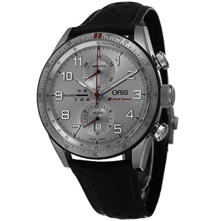 Oris Men's 774 7661 7481 LS 'Audi Sport' Silver Dial Black Leather Strap Chronograph Limited Edition Automatic Watch