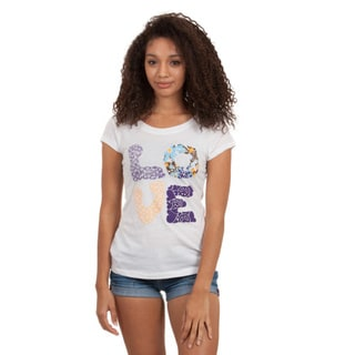 Junior Hand-appliqued Crew Neck Love Applique T-shirt
