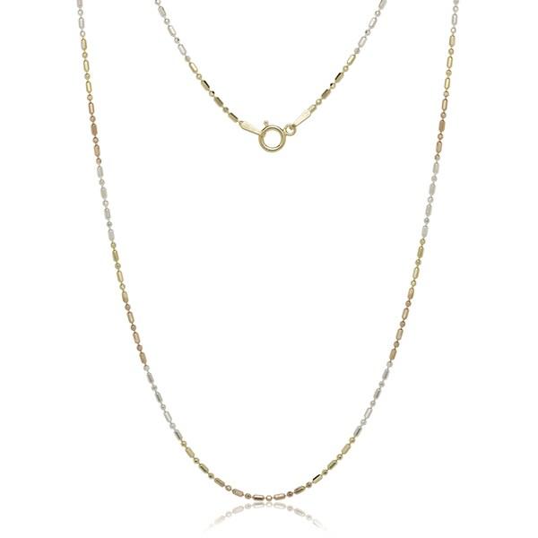 Tri-color Sterling Silver Bead Chain