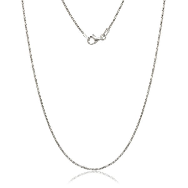 Italian Sterling Silver Rhodium-plated 1.0mm Spiga Chain