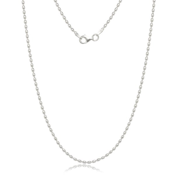"Italian Sterling Silver 1.8mm Oval Bead Chain (16""-20"")"