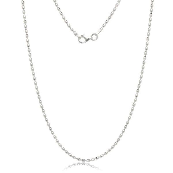 "Italian Sterling Silver 1.8mm Oval Bead Chain (16""-20"")"