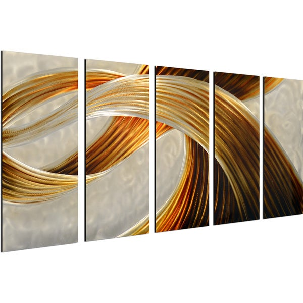 My Art Outlet 'Golden Magic' 5-piece Handmade Modern Metal Wall Art