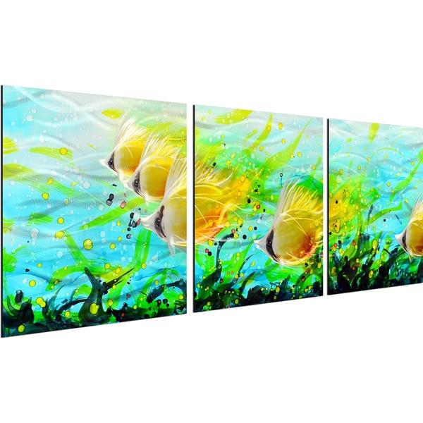My Art Outlet 'Aquatic Panoramic View' 3-piece Handmade Modern Metal Wall Art