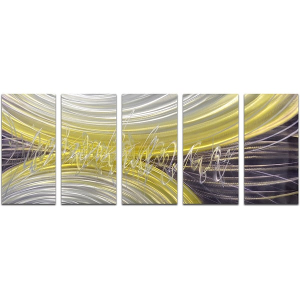 Rings of magnetism 5 Piece Handmade Modern Metal Wall Art