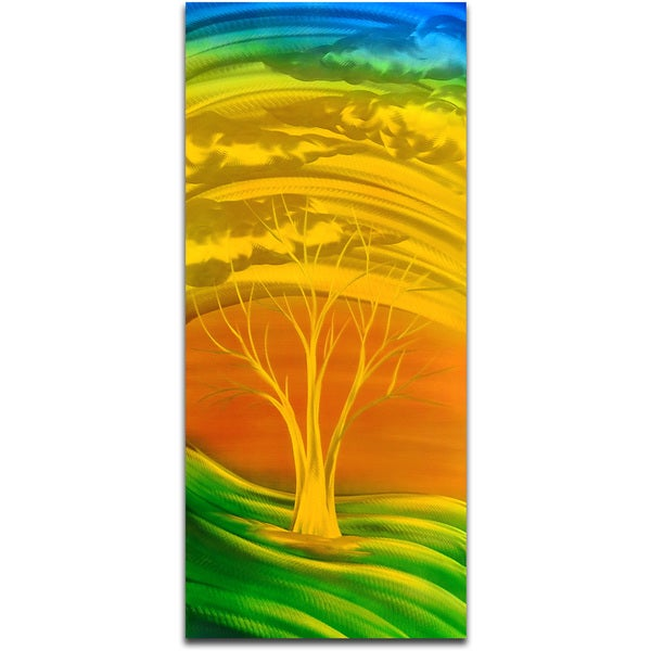 Fiery Golden Green Handmade Modern Metal Wall Art