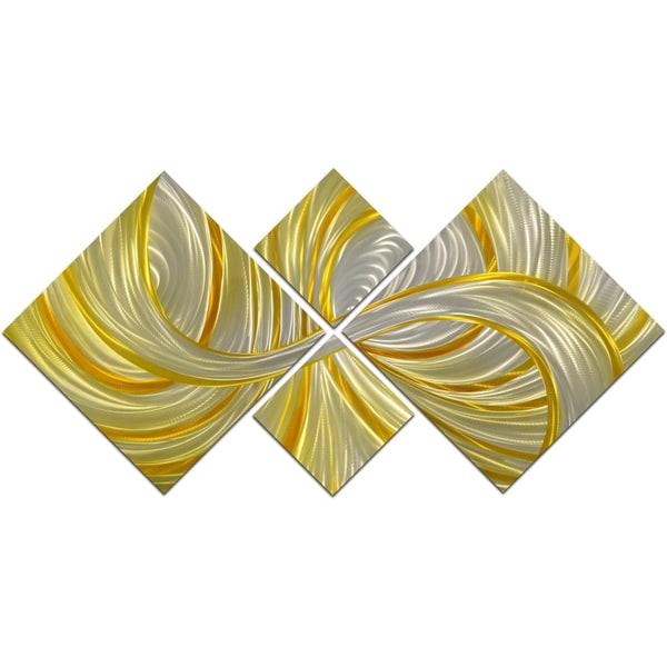 Deceptive Golden Curls 4-piece Handmade Modern Metal Wall Art