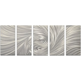 Velvety Greys 5-piece Handmade Modern Metal Wall Art