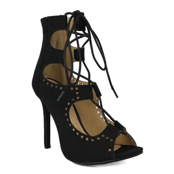 Fahrenheit Common-21 Gjillie Laces Peep-toe Women's High Heel Sandals