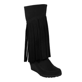 Mark and Maddux Bernice-02 Fringe Moccasin Wedge Women's Mid-calf Boots