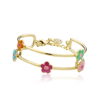 LMTS Girls 14k Goldplated Multi-color Enamel Flowers Station 2-row Bangle