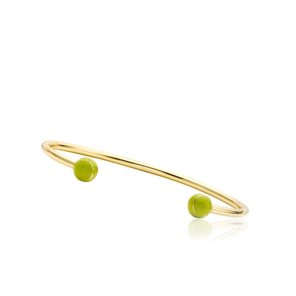 LMTS 14k Goldplated Children's Green Enamel Tennis Ball Bangle