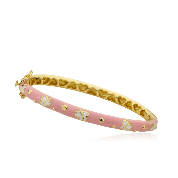 LMTS Girls 14k Goldplated Hot Pink Enamel Bangle