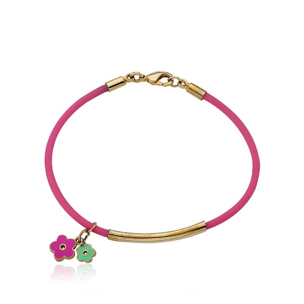 LMTS Girls 14k Goldplated Bar Hot Pink Rubber Bangle