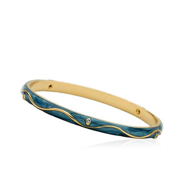 LMTS Girls 14k Goldplated Denim Blue Enamel Cubic Zirconia Bangle