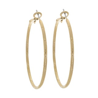 Nexte Jewelry 14k Gold Overlay Frosted Nugget Large Hoop Earrings