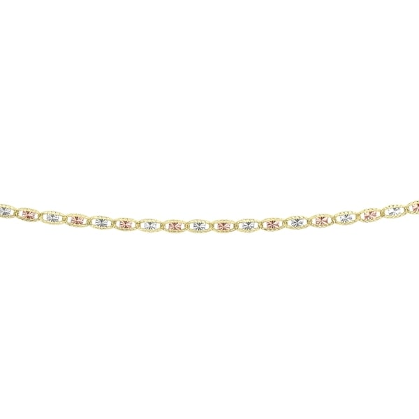 14k Yellow, White, and Rose Gold 16-inch Chain Necklace
