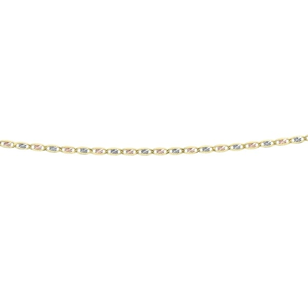 14k Yellow, White, and Rose Gold 18-inch Chain Necklace