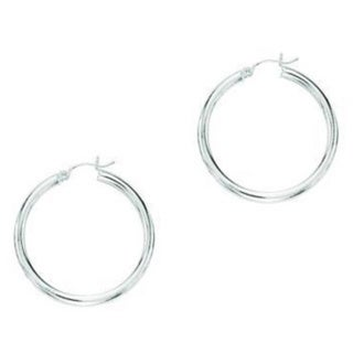 14k White Gold Shiny Hoop Earrings