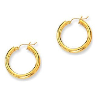 14k Yellow Gold Shiny Tube Hoop Earrings
