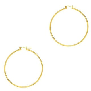 14k Yellow Gold Shiny Runway Hoop Earrings