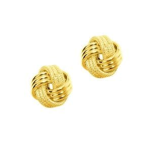 14k Gold Diamond Cut and Polished 3-Strand Loveknot Earrings