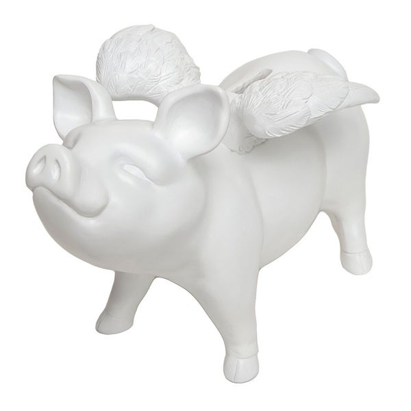 Resin White Piggy Bank with Wings