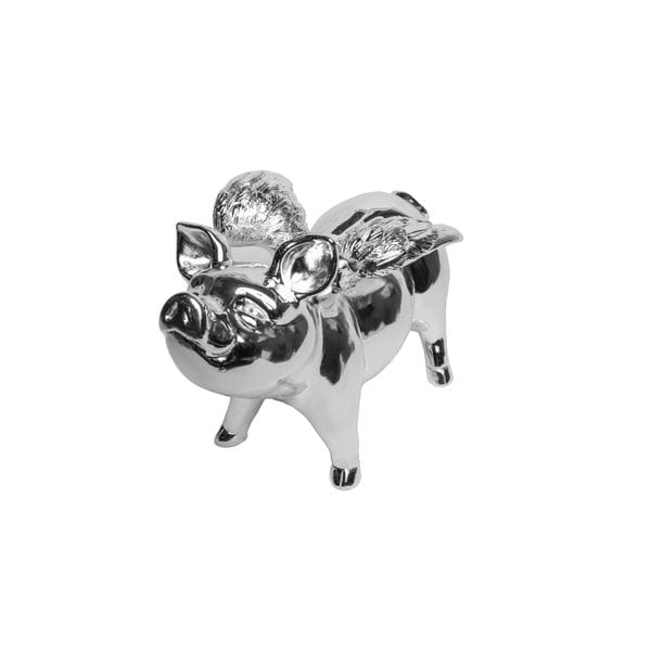 Resin Silver Piggy Bank with Wings