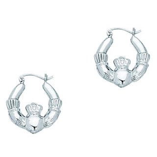 14k White Gold Caladdaugh Symbolic Earrings