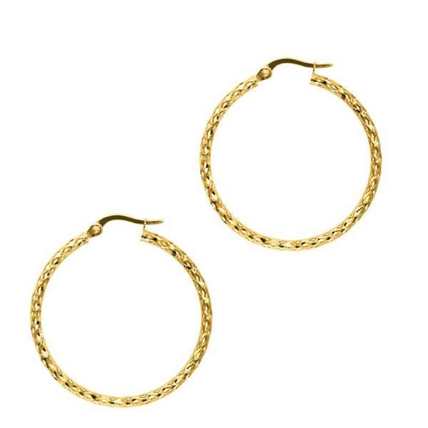 14k Gold Netted Sparkle Hoop Earrings