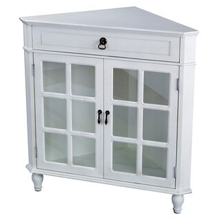 Heather Ann Wooden Corner Cabinet with Glass Insert
