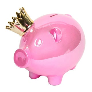 Pink Piggy Bank with Gold Crown