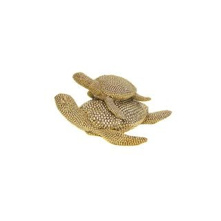 Gold Mom with Baby Turtle Tabletop Decor