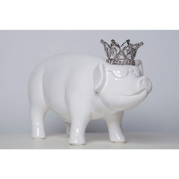 Ceramic Glazed Pig Bank with Crown and Glasses