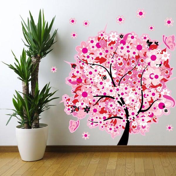 Pink Flower Tree - floral wall decal, sticker, mural vinyl art home decor